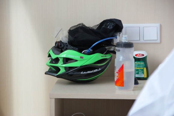 Helmet and riding gear packed and ready